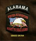 ALABAMA and NEVER SURRENDER Small Patches Set for Biker Vest Jacket