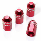 4 Red Finned Hex Wheel Tire Pressure Air Stem Valve Caps for Auto-Car-Truck