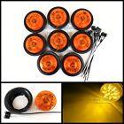 "(8) AMBER 13 LED Light Trailer 2-1/2"" round,w/plug,Grommet Clearance marker 2.5"""