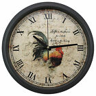 Black Matte Finishing 34cm Round Extra Thick Iron Wall Clock Rooster