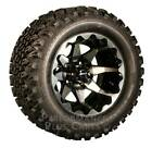 "HD6 12"" Black /  Machined Golf Cart Wheels with 23"" A/T Lifted Tire Package"