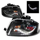 06-08 Audi A3 Blk Black R8 Led Projector Headlights LH RH Head Lamps Assembly