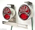 LED STOP Stainless Taillights w/ Plate Light & Brackets Flat Bed Dump D1
