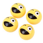 4 Pcs Yellow Winking Face Expression Auto Tire Dust Screws Caps Universal Fit