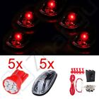 Set 5 Top LED Light Truck SUV Cab Marker Lamps Base T10 Harness Installation Kit