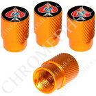 4 Gold Billet Aluminum Knurled Tire Air Valve Stem Caps - Pin Up Sailor Spade RB