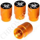 4 Gold Billet Aluminum Knurled Tire Air Valve Stem Caps - Xray Skull & Bones