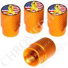 4 Gold Billet Aluminum Knurled Tire Air Valve Stem Caps - Yellow Ribbon US Flag