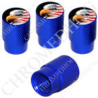 4 D Blue Billet Aluminum Knurled Tire Air Valve Stem Caps - US American Eagle L