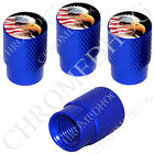 4 D Blue Billet Aluminum Knurled Tire Air Valve Stem Caps - US American Eagle R