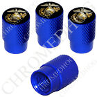 4 D Blue Billet Aluminum Knurled Tire Air Valve Stem Caps - USMC Marines EGA B