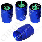 4 D Blue Billet Aluminum Knurled Tire Air Valve Stem Caps - Green FU Finger Blk