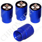4 D Blue Billet Aluminum Knurled Tire Air Valve Stem Caps - Pin Up Army Spade WB