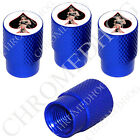 4 D Blue Billet Aluminum Knurled Tire Air Valve Stem Caps - Pin Up Lucky #13 SBW