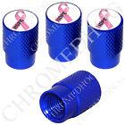 4 D Blue Billet Aluminum Knurled Tire Air Valve Stem Caps - Pink Ribbon White H