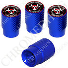 4 D Blue Billet Aluminum Knurled Tire Air Valve Stem Caps - Zombie Hunter RW