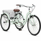 """Adult Tricycle Trike Cruise 1 Speed Mint Green 3 Wheeled 26"""" Bike With Basket"""