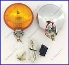 """12 Volt H3 100 Watt Amber 5"""" Fog Lights Chrome Housings Mopar"""