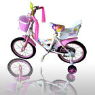 "New 12"" Children Girls Kids Bike Bicycle With Training Wheels Steel Frame"