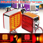 2x Amber/Red 39 LEDs Double Face Stud Mount Pedestal Fender Stop Turn Tail Light