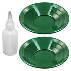 "Lot of 2 - 10"" Green Dual Riffle Plastic Gold Pan & 4 oz Sniffer Bottle"