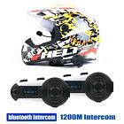 2x Motorcycle Bluetooth Helmet Intercom Interphone 1200m 6 Riders Waterproof