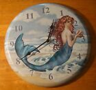 NAUTICAL MERMAID & CONCH SHELL BLUE OCEAN BEACH HOME WALL CLOCK DECOR - NEW