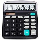 Calculator, 12-Digit Solar Battery Basic Dual Power Office With Large LCD And