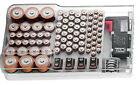 The Battery Organizer Storage Case Container & Battery Tester Hinged Clear Cover