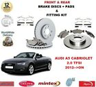 FOR AUDI A5 CABRIO 2.0 TFSI 2012-> FRONT + REAR BRAKE DISCS & PADS + FITTING KIT