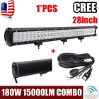 28''inch 180W CREE LED Work Light Bar Spot Flood Combo Truck Car Boat+Wiring Kit