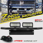 7INCH CREE LED Light Bar Tri-Row Front Bumper License Plate Mount Holder Offroad