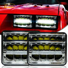 """4Pcs DRL 4X6"""" Led Headlight Crystal Clear Sealed Beam for Chevy Camaro 1982-1992"""