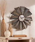 Roman Numeral Wall Clock Rustic Metal Country Farmhouse Windmil Decor Galvanized