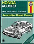 HONDA ACCORD Haynes Repair Manual 1984 thru 1989 All Models No. 42011