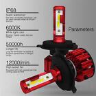2x Mini H4 9003 HB2 LED Headlight IP68 100W 12000LM Hi/Lo Beam 200m Light Range