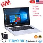 "T-bao R8 Laptop Computer 15.6"" Win 10 Quad Core 4GB+64GB TF 128GB HDMI Bluetooth"