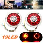 Pair Round Ring 19 LED Truck Trailer Brake Stop Turn Tail Light Side Marker