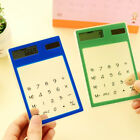 LCD 8 Digit Touch Screen Ultra slim Transparent Solar Calculator Stationery