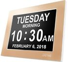 Day Clock Extra Large Impaired Vision Digital Time with Alarm Gold