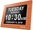 Day Clock Extra Large Impaired Vision Digital Time with Alarm Brown Wood