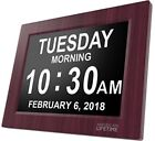 Day Clock Extra Large Impaired Vision Digital Time with Alarm Mahogany