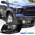 2009-2018 Dodge Ram 1500 2500 3500 Crystal Headlight Clear Head Lamps Black