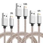 Paquete de 3 relámpagos Cable cargador de cable para Iphone X 8 7 6 3 6 10 pies