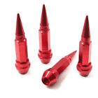 4 Red Aluminum Metal Long Spike Wheel/Tire Valve Stem Car-Truck Air Caps Covers