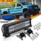 12in 72W 7200LM LED Work Bar Driving Lights Spot Flood For Offroad 4WD ATV Truck