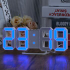 Digit LED Alarm Clock Large 3D Display Numbers Wall Clock Snooze Timer DC Power