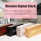 Wooden LED Digital Alarm Clock Dual Voice Control Calendar Thermometer