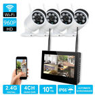 """Wireless 4CH 10"""" TFT LCD NVR In/Outdoor IR-CUT WiFi CCTV Camera Security System"""
