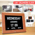 "8"" Large Digital LED Day Clock 6-Alarm Time Week Date Calendar Dementia"